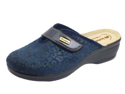 InBlu BJ000115 Blu Pantofole per Donna in tessuto satinato con stretch