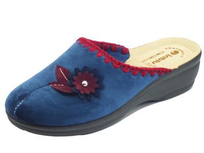 Articolo InBlu BJ00110 Blu Pantofole per Donna in tessuto fantasia fiore