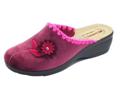 Articolo InBlu BJ00110 Prugna Pantofole per Donna in tessuto fantasia fiore