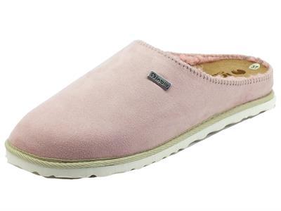 Articolo InBlu CS000034 Rosa Pantofole per Donna in tessuto con fodera in lana sottopiede in nabuk