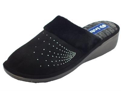 Articolo InBlu DC000014 Nero Pantofole Donna in tessuto nero con brillantini
