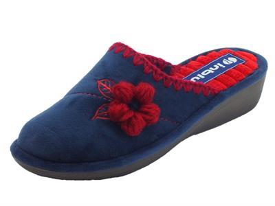 InBlu DC000015 Blu Pantofole Donna in tessuto blu fiore rosso