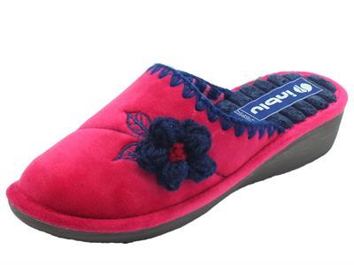 Articolo InBlu DC000015 Fuxia Pantofole Donna in tessuto Fuxia fiore blu