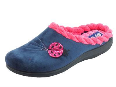 Articolo InBlu EC000043 Blu Pantofole Donna in tessuto con fantasia coccinella