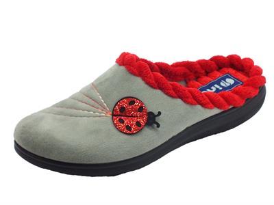 Articolo InBlu EC000043 Grigio Pantofole Donna in tessuto con fantasia coccinella