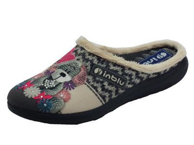 Articolo InBlu EC000049 Grigio Pantofole Donna in tessuto con fantasia orsacchiotto peluche