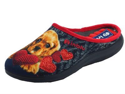 Articolo InBlu EC000050 Blu Pantofole Donna in tessuto con fantasia cagnolino e cuore