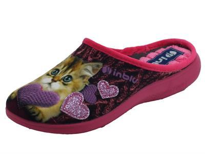 Articolo InBlu EC000050 Prugna Pantofole Donna in tessuto con fantasia gattino e cuore