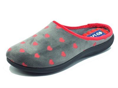 Articolo InBlu EC000052 Antracite Pantofole per Donna in tessuto fantasia cuoricini rossi