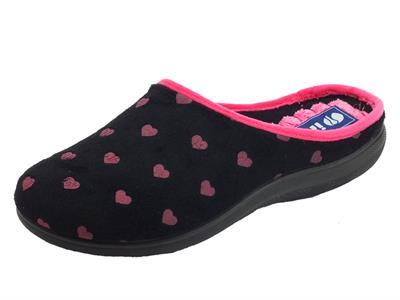InBlu EC000052 Black Pantofole Donna tessuto nero con cuoricini rosa