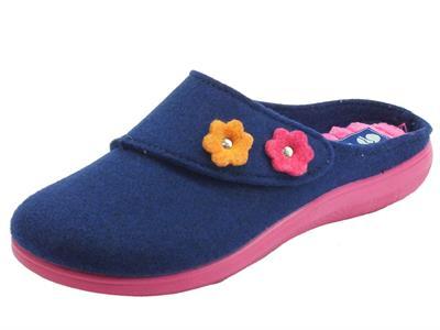 Articolo InBlu EC000055 Blu Pantofole Donna in lana cotta blu e fiori con regolazione a strappo