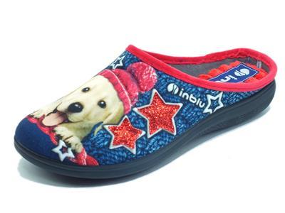 Articolo InBlu EC000056 Blu Pantofole per Donna in tessuto fantasia cagnolino