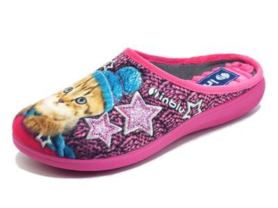 Articolo InBlu EC000056 Fuxia Pantofole per Donna in tessuto fantasia gattino