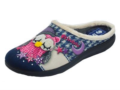 Articolo InBlu EC000057 Blu Pantofole per Donna in tessuto fantasia gufetto