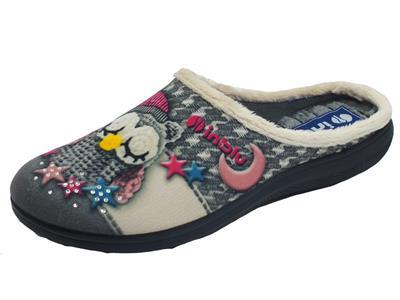 InBlu EC000057 Grigio Pantofole per Donna in tessuto fantasia gufetto
