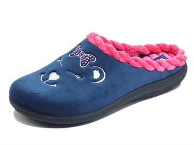 Articolo InBlu EC000064 Blu Pantofole per Donna in tessuto fantasia orsetto