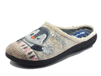 Articolo InBlu EC000069 Paglia Pantofole per Donna in tessuto motivo pinguino