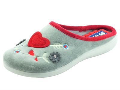 Articolo InBlu EC000073 Grigio Pantofole per Donna in tessuto con cuoricini