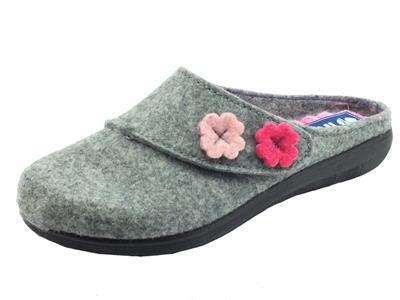 Articolo InBlu EC000074 Argento Pantofole per Donna in lana cotta con regolazione stretch