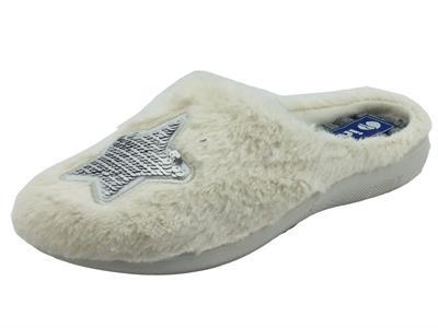 Articolo InBlu EC000077 Ghiaccio  Pantofole per Donna in tessuto bianco con motivo stella