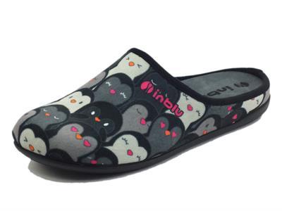 Articolo InBlu GF000005 Nero Pantofole per Donna in tessuto motivo pinguini