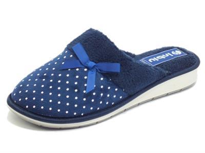 Articolo InBlu LB000072 Blu Pantofole per Donna in tessuto poisse blue e bianco