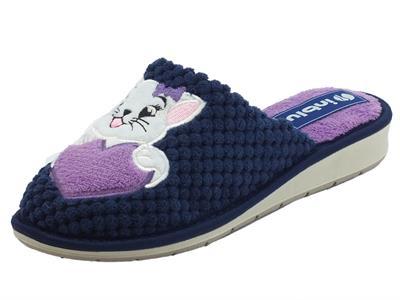 Articolo InBlu LB000080 Blu Pantofole Donna in tessuto blu fantasia gattino