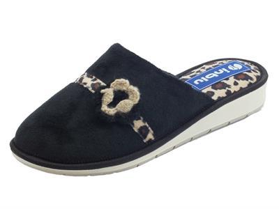 Articolo InBlu LB000081 Nero Pantofole Donna in tessuto nero con leopardato marrone