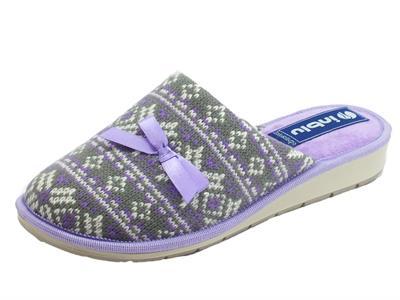 InBlu LB000083 Pantofole Donna tessuto glicine e grigio