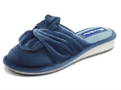 Articolo InBlu LB000085 Blu Pantofole per Donna in tessuto spugna annodato