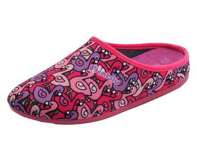 Articolo InBlu VG000016 Fuxia Pantofole Donna in tessuto con fantasia fenicotteri rosa