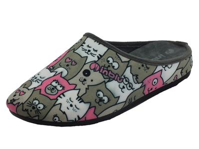 Articolo InBlu VG000016 Grigio Pantofole Donna in tessuto con fantasia gattini