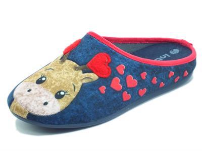 Articolo InBlu VG000021 Blu Pantofole per Donna in tessuto fantasia cerbiatto