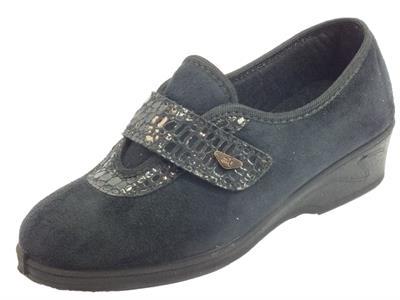 Articolo Melluso P3003F Nero Mocassini Pantofole Confort in tessuto nero