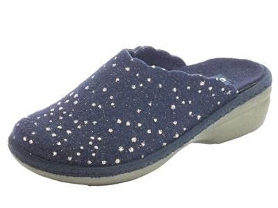 Articolo Melluso PD306F Blu Pantofole Donna in tessuto blu a poisse argento