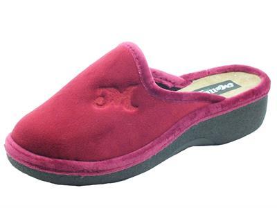 Articolo Melluso PD407L Bordò Pantofole per Donna in tessuto pile bordò con zeppa media