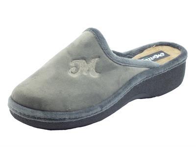 Articolo Melluso PD407L Grigio Pantofole per Donna in tessuto pile con zeppa media