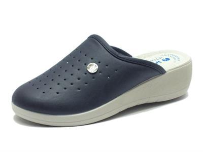Pantofola inblu per donna in eco-pelle blu