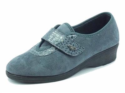 Articolo Pantofole chiuse Melluso per donna in camoscio grigio