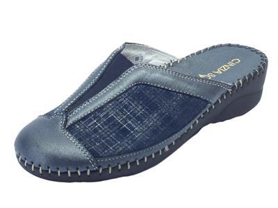 Pantofole Cinzia Soft per donna in pelle e tessuto elasticizzato blu