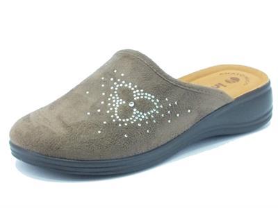 Articolo Pantofole donna inBlu in tessuto marrone con brillantini