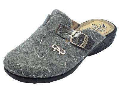 Pantofole Fly Flot per donna in lana cotta grigia con regolazione