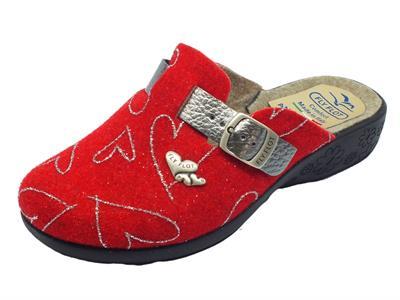 Articolo Pantofole Fly Flot per donna in lana cotta rossa con regolazione