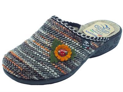 Articolo Pantofole Fly Flot per donna in tessuto cucito multicolore marrone con fiore