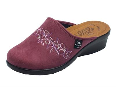 Pantofole Fly Flot per donna in tessuto rosa anticato sottopiede in pelle