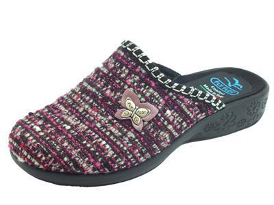 Articolo Pantofole FlyFlot per donna in lana ciclamino