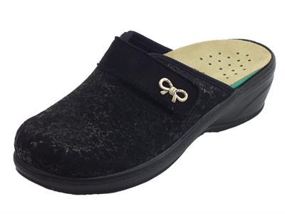 Pantofole FlyFlot per donna in tessuto elasticizzato nero sottopiede estraibile