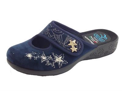 Pantofole FlyFlot per donna in tessuto pile blu regolazione a strappo