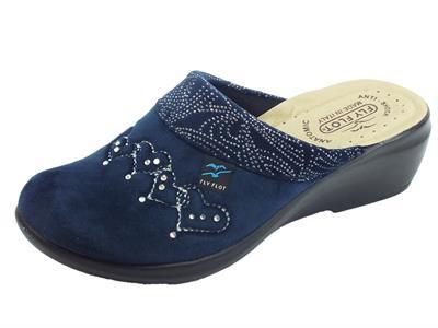 Articolo Pantofole FlyFlot per donna in tessuto pile blu sottopiede anti-shock zeppa alta