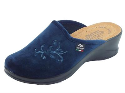 Articolo Pantofole FlyFlot per donna in tessuto pile blu sottopiede in pelle anti-shock